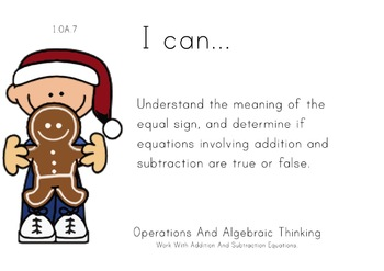 Christmas Kids Theme 1st grade math Common Core Posters first Grade Standards