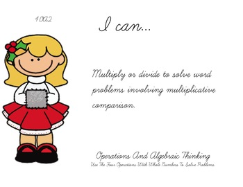 Christmas Kids Theme 4th grade math Common Core Posters fourth Grade Standards