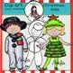 Christmas Kids clip art -Color and B&W-