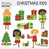 Christmas Kids with presents Clipart - Studio ELSKA