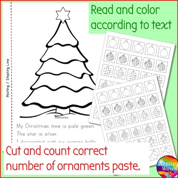 Christmas Kinder Math Center Activities Cut & Paste Craft Counting Numbers 0-10