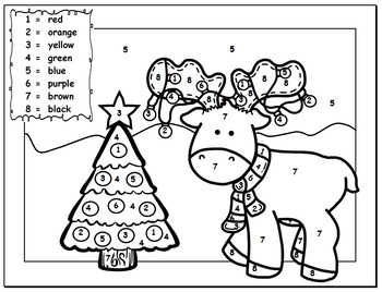 Christmas Color By Number  Work Sheets
