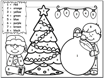 Christmas Color By Number - Kindergarten by KinderGenie | TpT