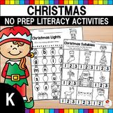 Christmas Literacy Worksheets (Kindergarten)