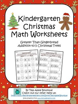 Christmas Kindergarten Math Worksheets By Teal Apple Boutique Tpt
