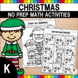 Christmas Math Worksheets (Kindergarten)