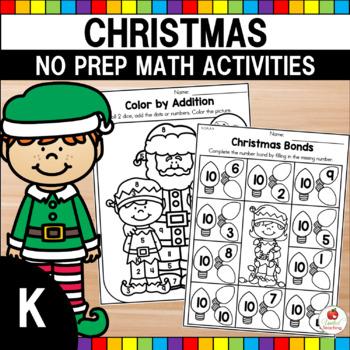 Christmas Math Worksheets (Kindergarten)