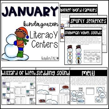 Winter {January} Kindergarten Math and Literacy Centers