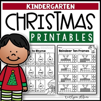Christmas Kindergarten Printables - Math and Literacy