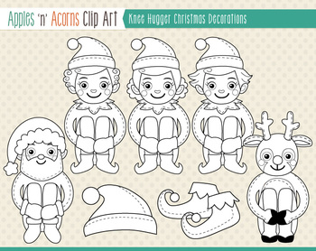 Christmas Knee Hugger Decorations Clip Art - color and outlines