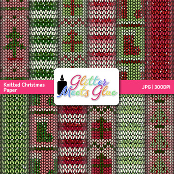 Knitted Christmas Scrapbook Paper   Christmas Clipart for Teachers