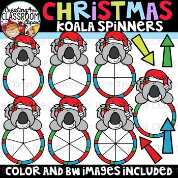 Christmas Koala Spinners Clipart {Christmas Clipart}
