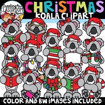Christmas Koalas Clipart {Christmas Clipart}