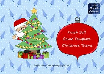 Koosh Ball Game Template SMART Board Lesson Christmas Theme