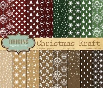 Christmas Kraft Digital Paper