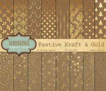Christmas Kraft Digital Scrapbook Paper Textures