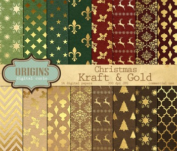 Christmas Kraft and Gold Digital Paper Pack Scrapbook Backgrounds