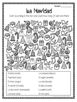 Christmas ~ La Navidad find, color and count activity
