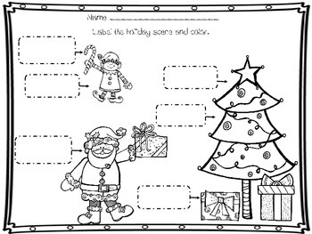 Christmas Labeling Freebie 6 pages K-2nd Label Cut, Paste, Write