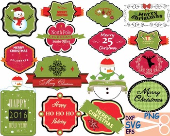 christmas labels happy new year 2016 clip art cutting badge svg tags retro 36s