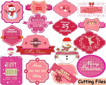 Christmas Labels Happy new year 2016 clip art Cutting badge SVG tags retro -37s-