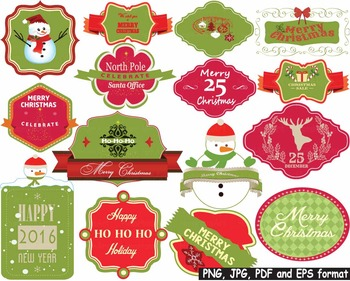 Christmas Labels Happy new year 2016 clip art frame tags reindeer card atc -160-
