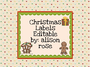 Editable Christmas Labels.Christmas Labels Editable