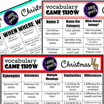 Christmas Language Activities: Game Show