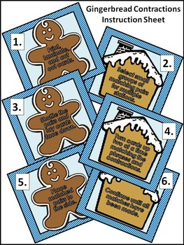 Christmas Language Arts Activities: Gingerbread Contractions Christmas Game