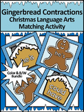 Christmas Language Arts Activities: Gingerbread Contractions Bundle - Color&BW