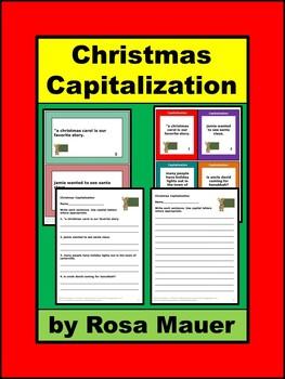 Capitalization Task Cards Christmas