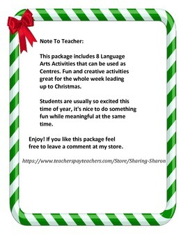 Christmas Language Arts Centres