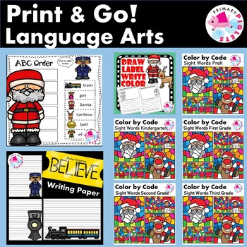 Christmas Language Arts Worksheets Bundle | December Language Arts Worksheets