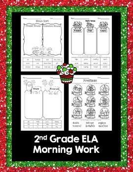 Christmas Language Arts morning work (nouns, verb tense, & prefixes)
