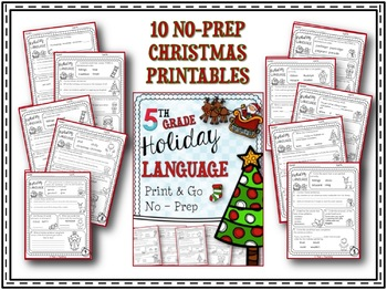 Christmas Language Printables - Fifth Grade
