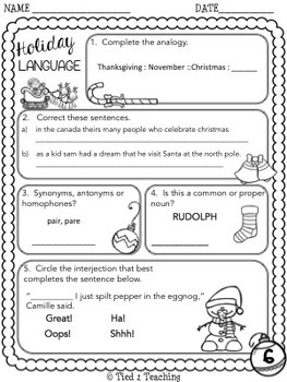 christmas math and language printables fifth grade by tied 2 teaching. Black Bedroom Furniture Sets. Home Design Ideas