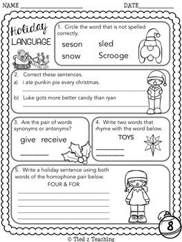 Christmas Language Printables - Third Grade
