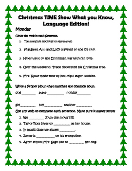 Christmas Language Review for 2nd Grade