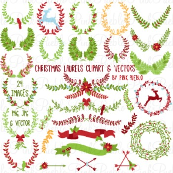 Christmas Laurels and Wreaths Clipart Clip Art - Commercial and Personal Use