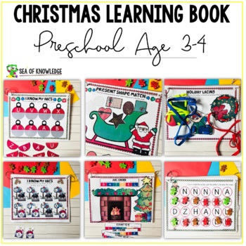 Christmas Learning Busy Book Binder Preschool Toddlers Age 3-4 - Personalised