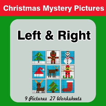 Christmas: Left & Right side - Color by Emoji - Mystery Pictures