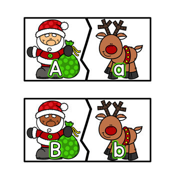 Christmas Letter Matching Puzzles - English & Spanish
