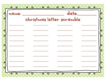 Christmas Letter Scramble