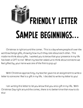 Christmas Letter Writing Activity You Are A Gift