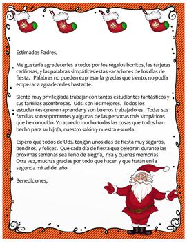Christmas Letter To Parents Bilingual