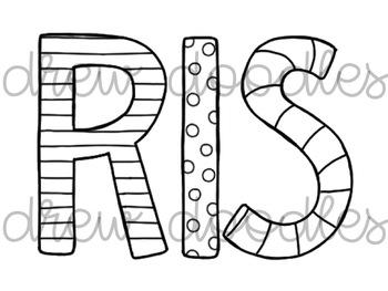 Christmas Letters Digital Clip Art Set- Color and Black Line COMBO