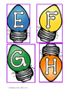 Christmas Letters Light Bulbs Matching Cards: