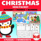 Christmas Mini Packet : Beginning Sounds, Alphabet & Number Worksheets & Puzzles