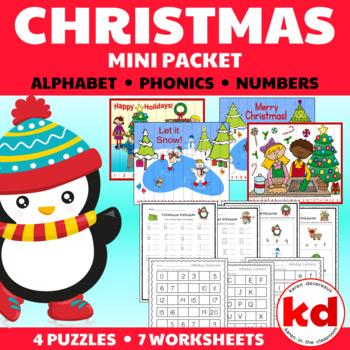 Christmas Letters & Sounds Worksheets:  Beginning Sounds &