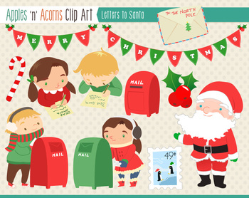 Christmas Letters to Santa Clip Art - color and outlines